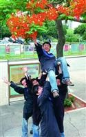 ↑Ya!咱們畢業了!同學興奮地在鳳凰樹下慶祝畢業,他們即將揮別校園,展開新的人生!(攝影�邱湘媛)