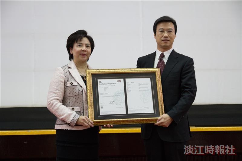 BSI臺灣總經理蒲樹盛蒞校頒發BS 10012證書