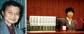 古俁裕介教授(左圖)在本校日文系任職期間,甚受學生同事歡迎;古俁史子夫人(右圖)21日來校致贈古俁教授日文藏書七千多冊。 (日文系主任彭春陽提供•記者陳振堂攝影)