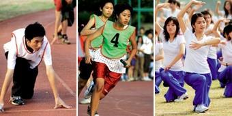 11.12.13.(左起)參與賽跑的選手,正等待槍聲起跑;接力賽中,同學奮力向前衝衝衝;600名同學表演精彩的大會舞,令人精神振奮。