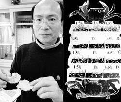 生科中心主任王三郎(圖左)以微生物發酵的蝦、蟹殼所生產的生物肥料/農藥,來促進植物生長,其中A組的菌種是由蘭陽校園的土壤篩選出來的,實驗發現A組植物成長最為快速。