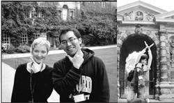 .遊學團參觀位在牛津,當地人常去休閒散步、觀光客必遊的百年景點─植物園,融入當地人的生活,也擴展自己的視野。圖為德文一白雅晴在大門口愉快留影,記錄自己的遊學生活。(圖�白雅晴提供).大傳三陳維信與來自捷克共和國的遊學生Mary在牛津期間成為好朋友,下課時經常一起漫步校園、聊天。圖為兩人在牛津大學賀特福學院中庭合影。(圖�陳維信提供)