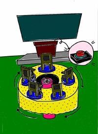GOGO團隊設計的迴轉桌椅,讓老師只要輕觸講桌上的紅色按鈕,立刻將後面打瞌睡的學生旋轉到講桌前面。(圖/創意中心提供)