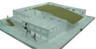 第二代鐵板屋設計不僅依社團性質做系辦分類,也考量社團屬性作各種不同硬體設備的要求。除加蓋二樓外,也擴建原鐵皮屋前的兩側,成為一凹字形設計,兩個獨立活動空間供武術、舞蹈與音樂性社團使用,並在中庭做一大型雨棚,作為多功能活動空間。此為掀頂的模型照片。(建築系提供)