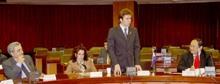 巴拉圭副總統賈司迪優尼(右二)率該國訪問團於上週四蒞校訪問,他表示,在巴國曾聽聞本校,因此在緊湊訪華行程中特地安排來淡江,校長張紘炬(右一)表達熱烈歡迎。左二為其夫人,左一為財政部長玻爾達。(記者陳光熹攝)