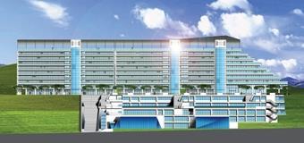 蘭陽校園第一期建築工程立面圖,包含教學區與宿舍區,預計七月完工。