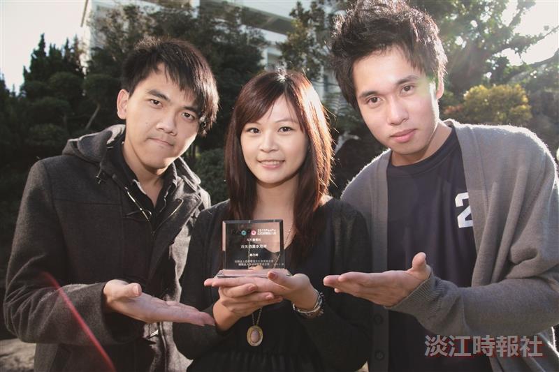 (左)溫皓凱、(中)鄭乃琦、(右)洪志富,獲公民新聞獎。(攝影/梁琮閔)